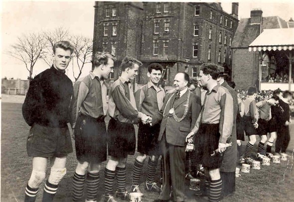 Photo:Great Yarmouth football team recieving congratulations form the mayor, c.1960s