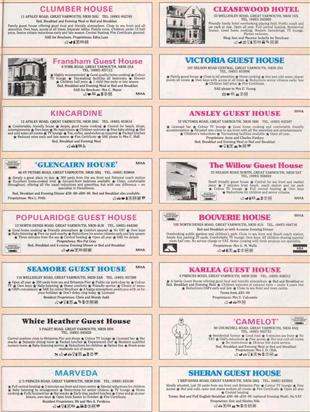 Photo:A page of hotel adverts from the Great Yarmouth holiday guide, c. 1980