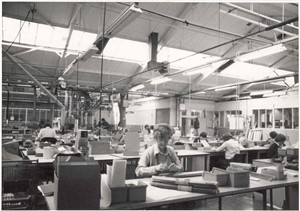 Photo:Photograph of interior of Erie Resistor - people at work