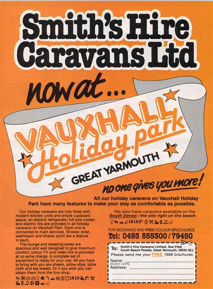 Photo:Vauxhall Caravan Park advert from the 1988 Great Yarmouth Holiday Guide