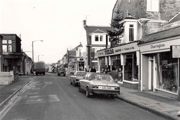 Photo:Fields Menswear and Charringtons, Bells Road Gorleston, 1977