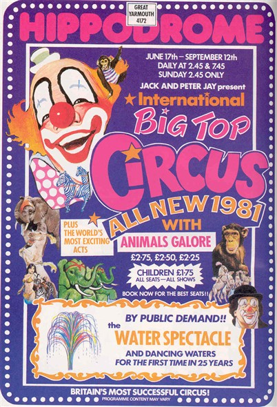 Photo:Advert for the Hippodrome Circus, 1981