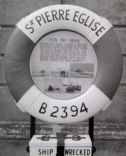 Photo:Lifebelt from St Pierre Eglise, with information plaque, which stood outside the Shipwrecked Sailors Home