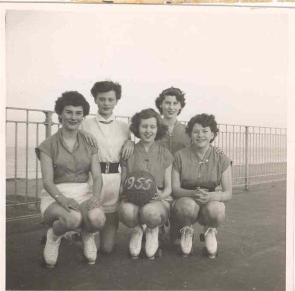 Photo:Group portrait of Great Yarmouth roller netball team (Wendy Parker is 1st on the left)