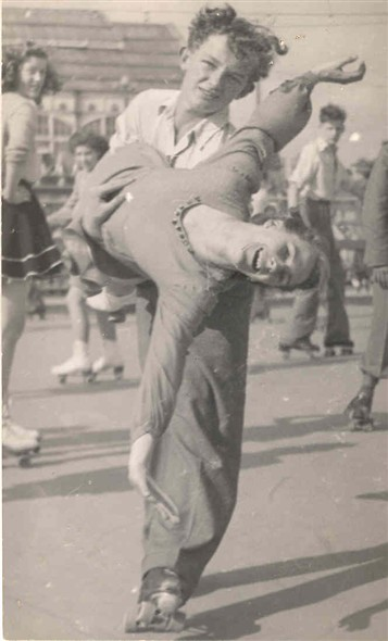 Photo:Pat & Brian Colclough skating at Wellington Pier, c 1950