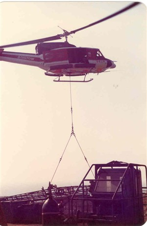 Photo:Helicopter working at a platform
