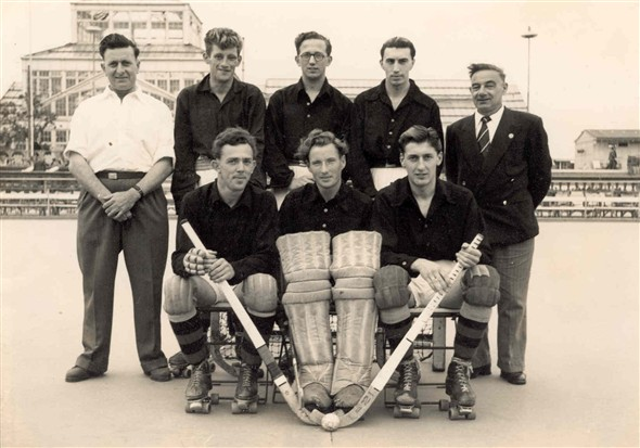 Photo:Members of the Comets Roller Hockey team, 1957: Front row left - right, F. Brown, P. Parker, T. Taylor (Capt)Back row, second from left F. Burnett, 3rd F. Yaxley.