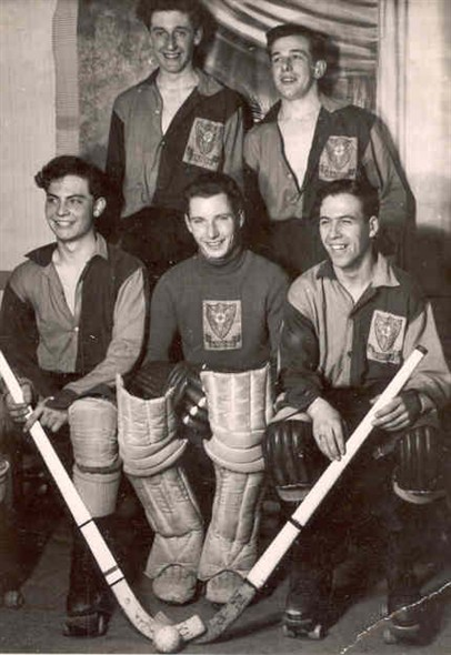 Photo:Members of the Comets Roller Hockey team, 1957