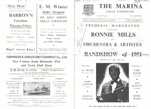 Photo:Programme for Ronnie Mills & his band, 1951 (cover pages)