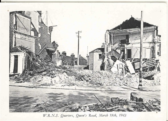 Photo:Ruins of the WRNS quarters in Queens Road, 18 March 1943