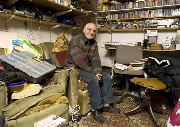 Photo:Vernon Morris in the back room of his shop where he carries out eletrical repairs