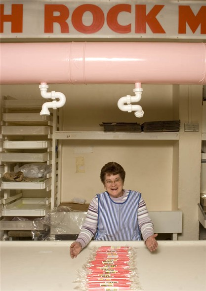 Photo:Portrait of V. Cashman behind the rock-making counter