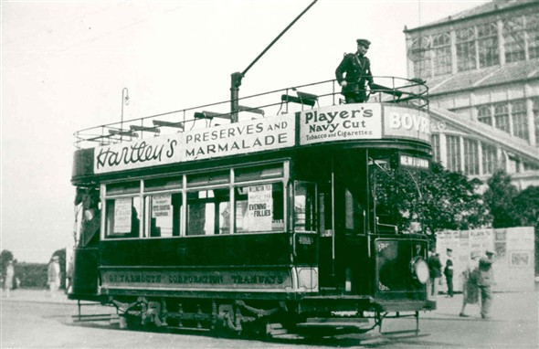 Photo:Tram car no. 7 at the Wintergardens, Marine Parade, Great Yarmouth