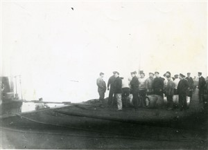 Photo:British crew of captured German submarine at Great Yarmouth