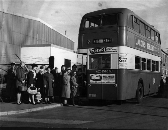 Photo:Photograph of a Great Yarmouth Corporation bus parked on Beevor Road, Great Yarmouth. This is outside of Birds Eye Foods at the riverside end of Beevor Road before this section was fenced off and became part of the factory site. It would have been possibly in the late 1950's or early 1960's. Maybe some of the Birds Eye ladies will recognise themselves or their colleagues.