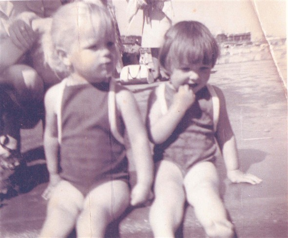 Photo:Donna Gillett and her cousin Jayne at Gorleston Paddling Pool 1967