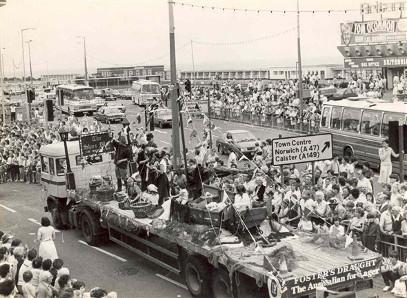 Photo:Photograph of Yarmouth Carnival, outside the Britannia Pier, 1984