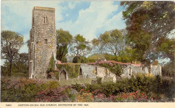 Photo:Postcard of Hopton Old Church, destroyed by fire 1865