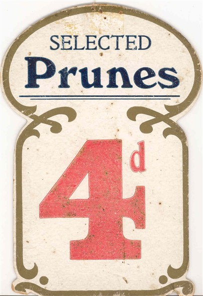 Photo:Price label for prunes from the Star Supply Stores