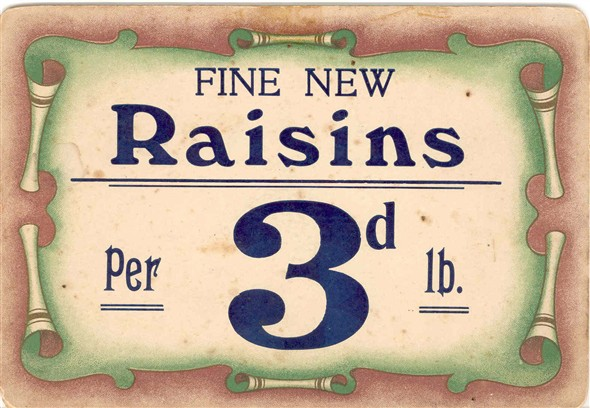 Photo:Price label for raisins from the Star Supply Stores
