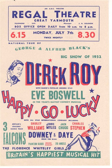 Photo:Regal Theatre programme for Happy Go Lucky, 7th July 1952