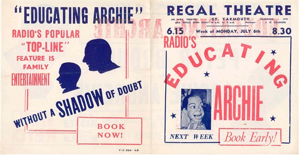 Photo:Cover of Regal Theatre Programme for Educating Archie, July 5th 1953