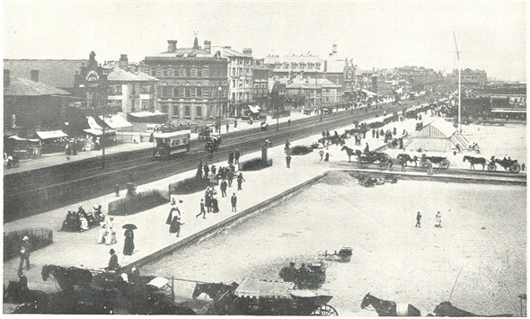 Photo:Photograph of Yarmouth Seafront, with the Sailors' Home top centre