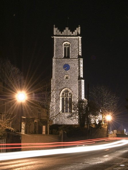 Photo:Ormesby Chursch at night, 2007