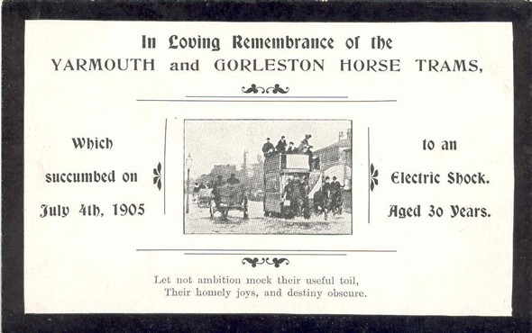 Photo:Postcard bemoaning the demise of the horse-drawn tram
