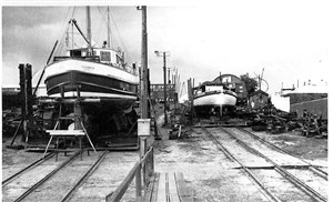 Photo:george overys yard with elizabeth simpson on the slipway
