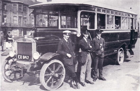 Photo:No ? (EX 1147) one of the seven Guy BB saloons delivered to the Corporation in 1924 to replace electric trams. Location?