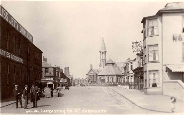 Photo:Lancaster Road, Great Yarmouth with the Jetty Dining Rooms on the left, c. 1900