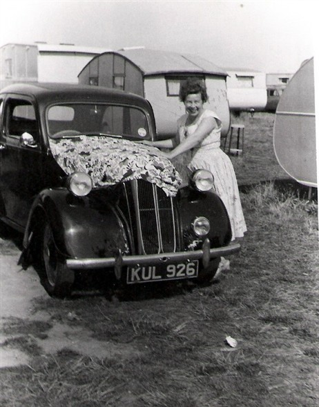 Photo:My Nan keeping the car cool (not sure why!) - South Denes Camp