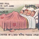 Photo:Seaside humour postcard reading 'It's very full, but I've got good quarters AT SKEGNESS (obviously mass-produced - insert location here) - a quarter of a bed with three others