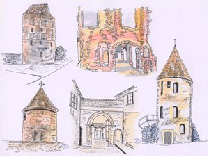 Photo:Compilation drawing of some of the town wall towers